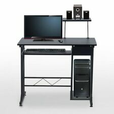 Computer Desk Steele-Black, PC Office Furniture, Speaker Shelf, Laptop Table New