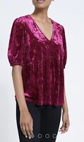 Burgundy Crushed Velvet Occasion Top Size L Ladies  Size 16-18 Stunning!!