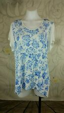 db Womens Plus Sz 2X High Low Hem Floral Tunic Top Linen/Rayon SS Blue on Ivory