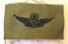 NAM WAR ERA US ARMY MASTER HELO CREWMAN WING/BADGE EMB ON SUBDUED UNCUT TWILL