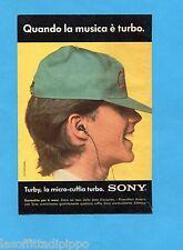 TOP989-PUBBLICITA'/ADVERTISING-1989- SONY - TURBY LA MICRO CUFFIA