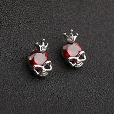 Goth Punk Silver King Skull Red Cubic Zirconia Alloy Earrings Stud Jewellery