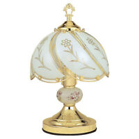 Table Lamp 14.25 In 3-Way Reliable Touch Sensor Control Brushed Gold Base Floral