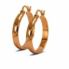 Creole Hoop Earrings For Women 18ct Rose Gold Filled Diamond Cut Pattern