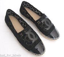 NIB 39 CHANEL Espadrilles Lace Flower Eyelet Black Patent Leather CC Toe Shoes