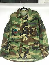 Military BDU Woodland Camo Coat USAF Master Sargent Air Combat Command - Size: M