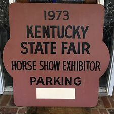 1973 Kentucky Horse Show Parking Wooden Sign 4' X 4' Secretariat