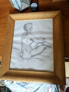 Vintage Framed Pencil Drawing Nude Lady signed B Ericsson #S5