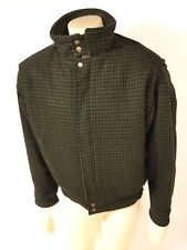 NWOT Woolrich Mens Green/Black Houndstooth Insulated Wool/Nylon Heavy Coat Large