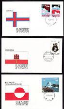 17907/ UNO Flaggen der Nationen - 3 Umschläge - Foroyar, Grönland, Gibraltar