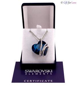 Collana oro bianco Swarovski Elements originale G4Love cristallo cuore blu donna