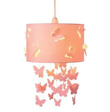 PINK BUTTERFLIES CEILING LIGHT SHADE GIRLS BEDROOM PRETTY VINTAGE CHIC STYLE