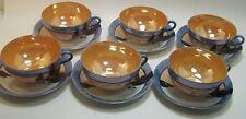 Hotta Yu Shoten 6  Teacup Saucer Set Lusterware Tea Set Mt Fuji Boats Japan VTG