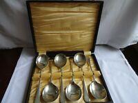 Vintage Silver Plate EPNS A1  Soup Spoons x 6 cased Length 19 cm