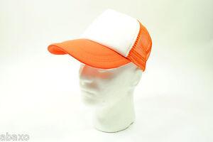 Trucker Mesh Cap/Hat Baseball Old School Vintage Classic - Orange/White