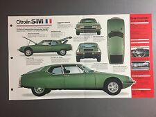 "1970 - 1975 Citroën SM  IMP ""Hot Cars"" Spec Sheet Folder Brochure Awesome #5-13"