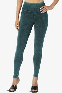 TheMogan S~XL Mineral Acid Washed Cotton Jersey High Rise Skinny Yoga Leggings
