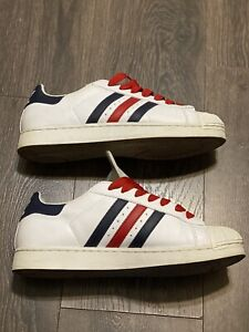 Rare Tri Color White Navy Blue Red Superstar Shell Toe Adidas 10.5 Vintage Gold
