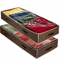Flexible Zippered Underbed Storage Bag (2 Pack) for Comforter, Blanket Storage