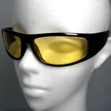 SPORT WRAP HD Night Driving Vison SUNGLASSES GLASSES YELLOW HIGH DEFINITION New