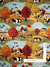 Farm Barn Fence House Cow Autumn Scenic Cotton Fabric by Springs CP28364 - Yard