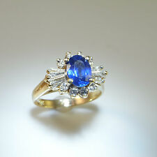 Vivid Cornflower Blue Fine Ceylon Sapphire Diamond Engagement Ring 14K Gold