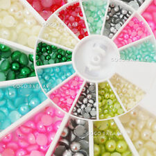 BF 600 Pcs 3mm Pearl Styles Nail Art Rhinestones Glitter Acrylic Tips Wheel #73B
