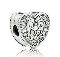 925 Sterling Silver Enchanted Heart Clip  European Bracelet Clip Charm