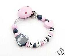 ♥ Schnullerkette mit Namen ★ Eule/Herz in dunkelgrau/rosa ♥ NEU