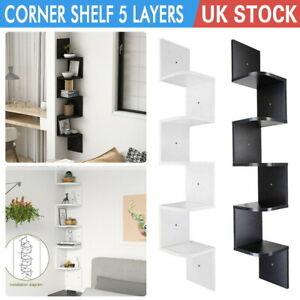 3/5 Tier Corner Shelf Floating Wall Shelves Storage Display Bookcase Home Decor