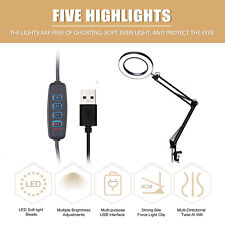 LED Lighting 5X Magnifying Glass Desk Lamp Swivel Arm with Clamp Dimmable U9D1