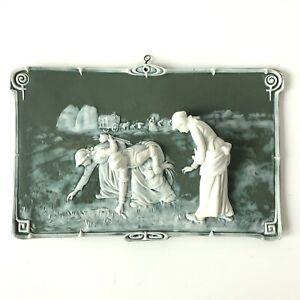 Antique Goebel Green Jasperware Wall Art Plaque The Gleaning Women German