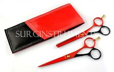 2 Piece Hairdressing Set Scissors Thinning Shears In Protective Case RED & BLACK