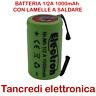 Batteria Ricaricabile NI-MH 2/3AF 2/3A 1/2A 1,2V 1000mAh 29x17mm a saldare
