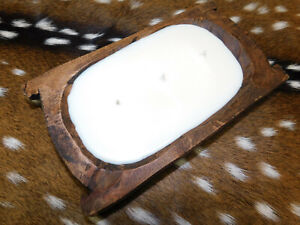 Carved Wooden Dough Bowl Soy Wax Candle Scented MARSHMALLOW FIRESIDE 1LB