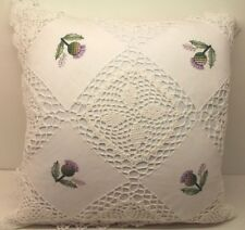 New! Crochet Knit Cushion Cover White Green Cotton Handmade Lace Thistle Floral