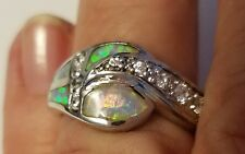 Sterling Silver 925 - Inlaid Opel with 9 Cubic Zirconium Cz Beautiful size 6-7