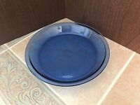 "Vintage Pyrex Clear Blue Glass 9"" Pie Plate  #209  11 - USA"