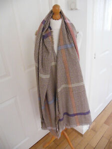 BEAUTIFUL OVERSIZED SCARF OVERSIZED SOFT WARM BROWN BEIGE HOUNDSTOOTH VGC