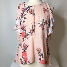 Belle + Sky Cold Shoulder Top Size L Ruffle Keyhole Front Floral Polyester