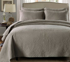 Quilted Cotton Coverlet Bedspread 3pc Set King/Super King 250x270cm MP027