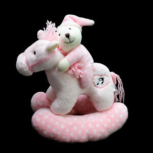 Korimco Kids Teddy on Rocking Horse Plush Soft Stuffed Toy Washed and Clean 25cm