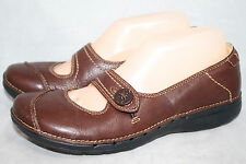 CLARKS UNSTRUCTURED Un.Poem Wo's 7.5M Brown Tumbled Leather Mary Jane Flats