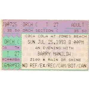 BARRY MANILOW Concert Ticket Stub  WANTAGH NY 7/25/93 JONES BEACH THEATER Rare
