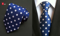 Classic Men's Blue Dot Style JACQUARD WOVEN Neck Ties Wedding Party gift