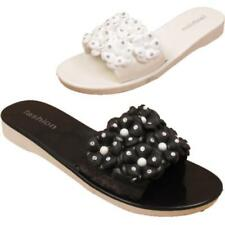 Open Toe Synthetic Floral Flats for Women