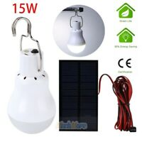 15W Rechargeable Solar Panel Powered LED Bulb Lamp Home Camping Emergency Light