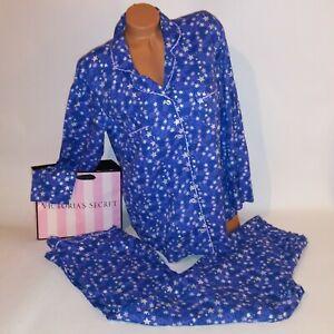 Victoria Secret Pajama Set Large Blue Purple Stars Button Top Pants Sleepwear