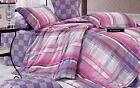 TREND BALMORAL PINK/PURPLE/BROWN/GREY/WHITE CHECK QUILT COVER SET KING NEW