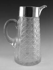 "ANTIQUE - Silver & Crystal - WATER JUG - 9 1/4"" - Sheffield 1899"